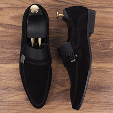 QYFCIOUFU Brand 100% Genuine Leather Formal Men Wedding Shoes Oxfords Handmade Designers Pointy Shoes Suede Slip On Dress Shoes