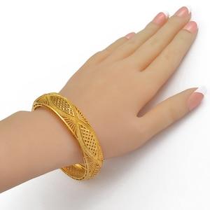 Image 3 - Anniyo 4pcs/Lot Dubai Gold Color Bangles Ethiopian Jewelry African Bracelets for Women Arab Jewelry Wedding Bride Gifts #199406