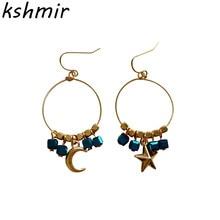 Han edition girl stars the moon crystal sugar sweet geometric bearings stud earrings female students