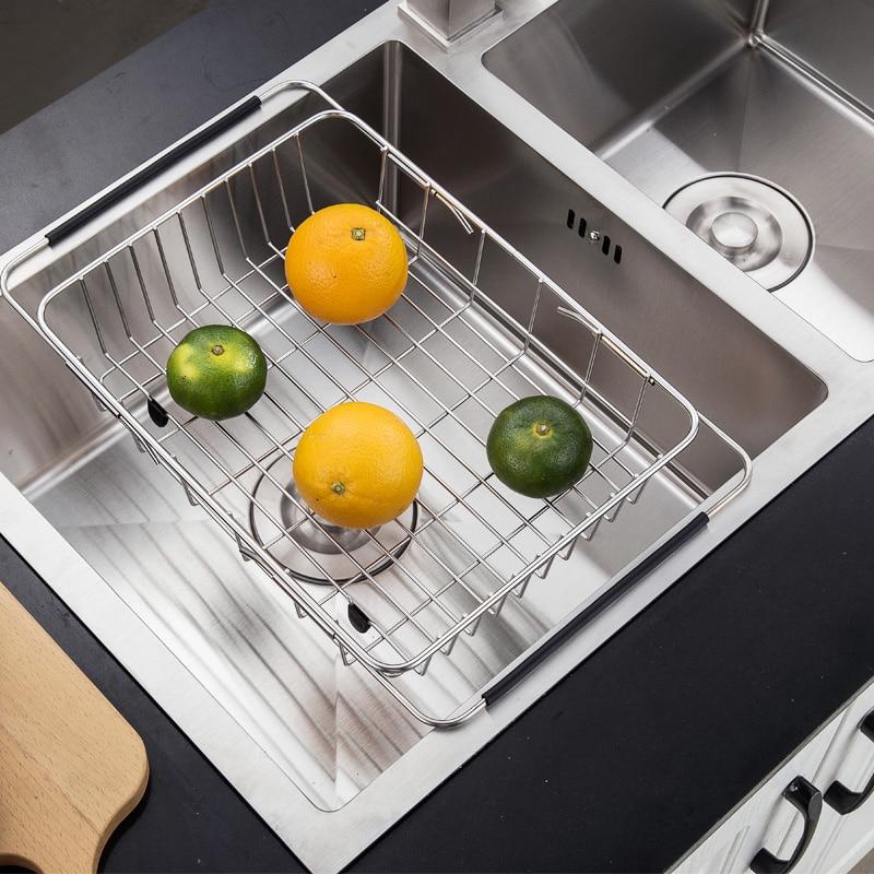 Kitchen sink retractable stainless steel drain rack, sink filter basket kitchen drain basket