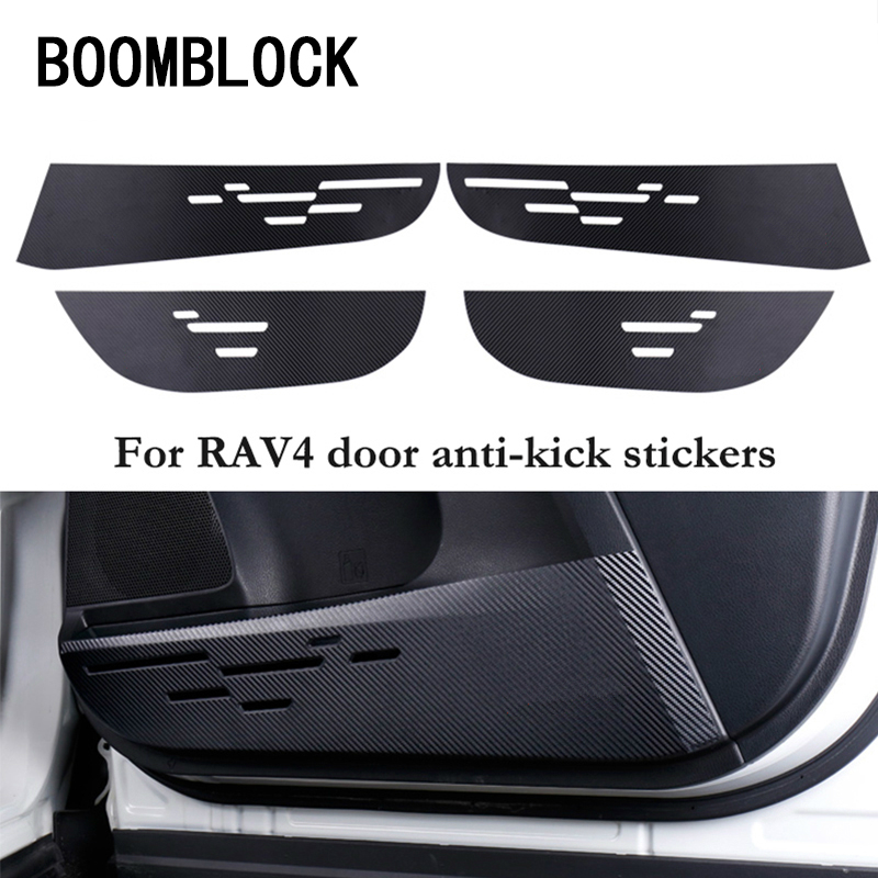 Car Door Protection Film Carbon Fiber Anti-kick Pads Frame Stickers For Toyota Rav4 RAV 4 2014 2015 2016 Car-styling Accessories