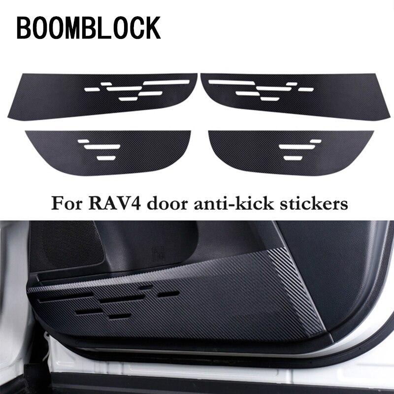 Car Door Protection Film Carbon Fiber Anti-kick Pads Frame Stickers For Toyota Rav4 RAV 4 2014 2015 2016 Car-styling Accessories