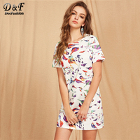 Dotfashion White And Multicolor Allover Bird Print Tunic Dress 2017 Woman Round Neck Short Sleeve Casual