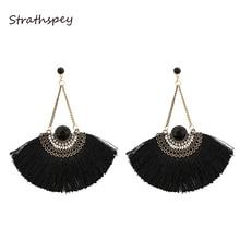 Fashion Women Ethnic Vintage Fan Thread Earrings