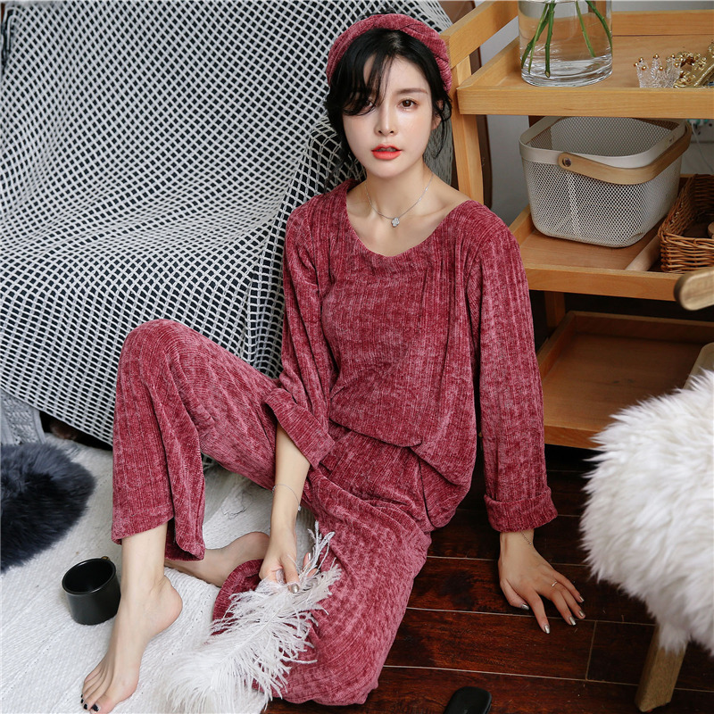 JULY'S SONG Woman Winter Flannel Pajamas Sets 2 Pieces Warm Pajamas Thick Sleepwear Woman Casual Homewear 41