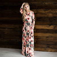 New 3 Color Long Dress Floral Summer Maxi Dress Vestido Longo Boho Bohemian Women Dress Chic Beach Tunic