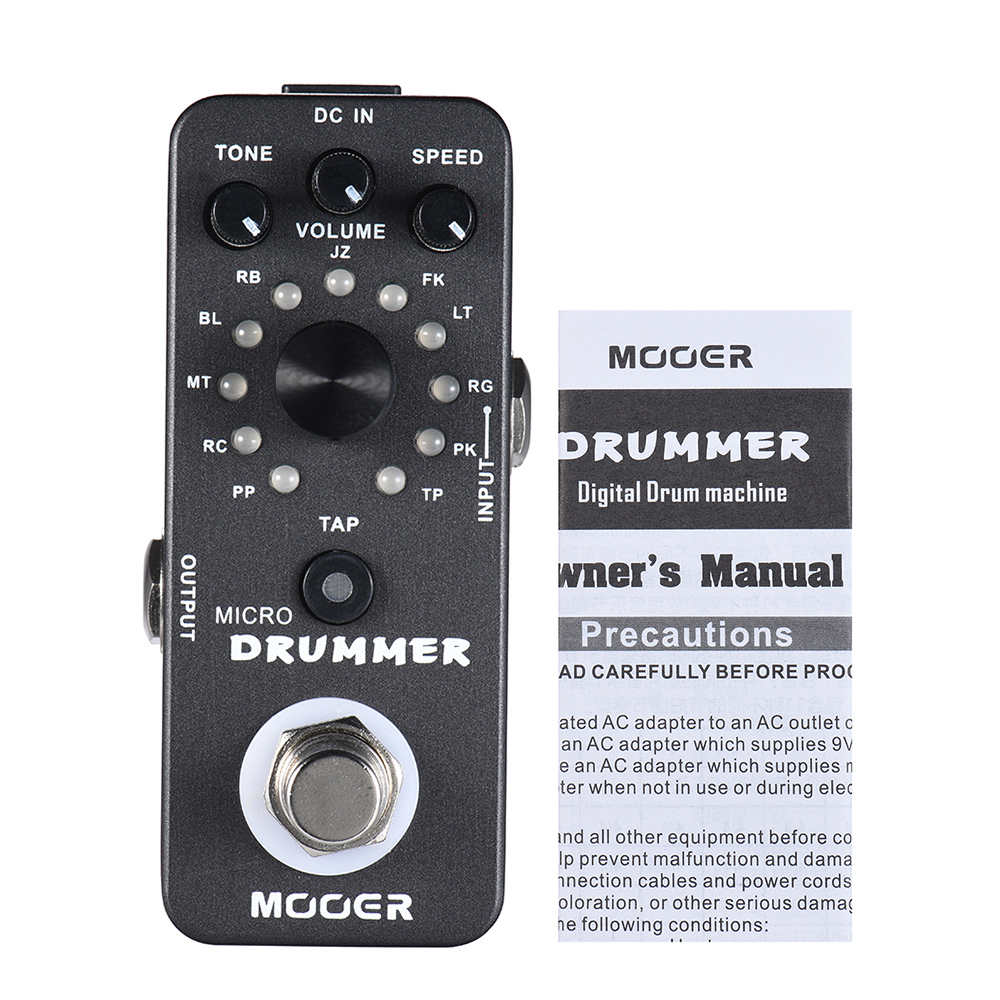 hot mooer micro drummer digital drum machine guitar effect pedal with tap tempo function true. Black Bedroom Furniture Sets. Home Design Ideas