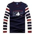 Diseño caliente de la manera hombres camiseta slim fit casual tace & shark mens t-shirt de manga larga camiseta camiseta homme