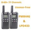 V2 PMR446 LPD433 Licencia Libre de Radio Walkie Talkie con batería Recargable Li-ion CE Certificado códigos CTCSS DCS Privado