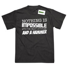 Nothing Is Impossible With The Right Attitude And A Hammer Funny T-Shirt Top Tee 100% Cotton Humor Men Crewneck Tee Shirts цена 2017