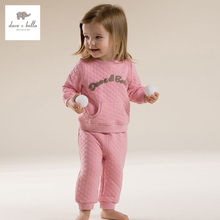 DB2680 dave bella  autumn long sleeve baby pink clothing sets warn padded sports set