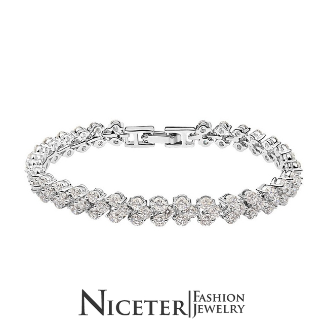 NICETER 2014 New Famous Brand AAA Top Quality Swiss Cubic Zircon Diamond Rome Bracelets For Women N8061  Fashion Jewelry Bangles