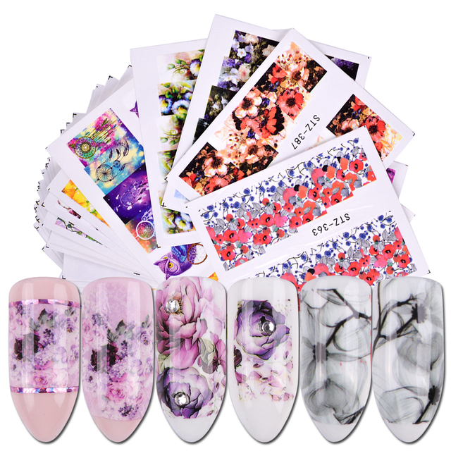 40pcs Nail Stickers Water Decals Butterfly Floral Animal Black White Geometry Slider Manicure Nail Art Decoration BESTZ608-658