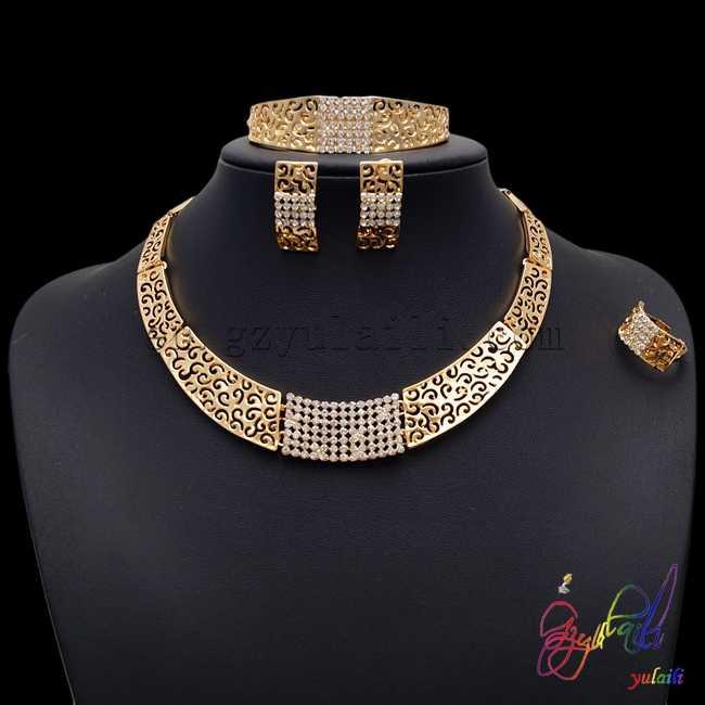 Yulaili 2017 Pakistani Bridal Jewelry Sets Italian Gold