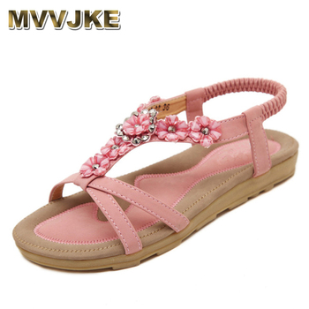 MVVJKE  Bohemian Summer Shoes Sweet Womens Flowers Flat Sandals High Quality Rhinestones Casual Flats Plus Size 35-42 Sandalias