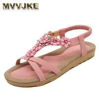 MVVJKE Bohemian Zomer Schoenen Sweet Womens Bloemen Platte Sandalen Hoge Kwaliteit Steentjes Casual Flats Plus Size 35-42 Sandalias