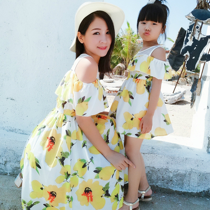 Family Matching Clothes Mother Daughter Dress Chiffon Casual Short-sleeve Dresses Family Look Mom Daughter Clothing Sets CC668 new mom daughter clothes family look mother daughter dresses family matching clothing for summer sleeveless printed family dress