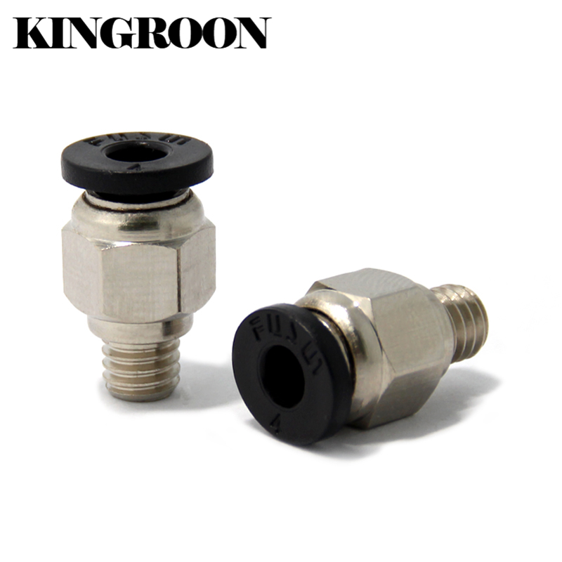 2pcs PC4-M6 Pneumatic Connectors Straight Air Fittings For Teflon Tube 4mm Hotend Extruder 3D Printers Parts Quick M6 Joint Part 5 pcs 5mm male thread m5 0 8 to 4mm od tube l shape pneumatic fitting elbow quick fittings air connectors
