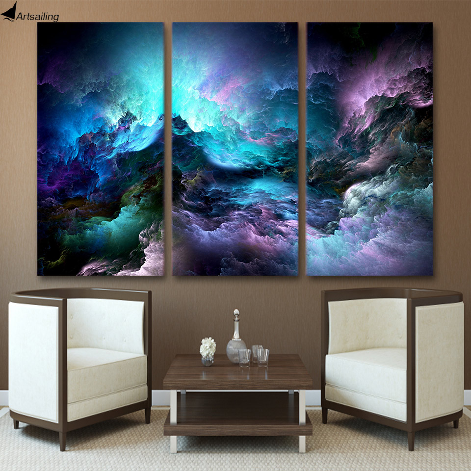 ArtSailing wall painting HD Stampato 3 pezzi canvas art abstract psychedelic art space cloud Quadro dipinto a parete pezzi d'arte stampa