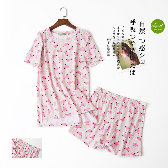 Sexy Summer short pyjamas women shorts Cute cartoon Simple 100% cotton women pajama sets homewear ladies sleepwear nightwear