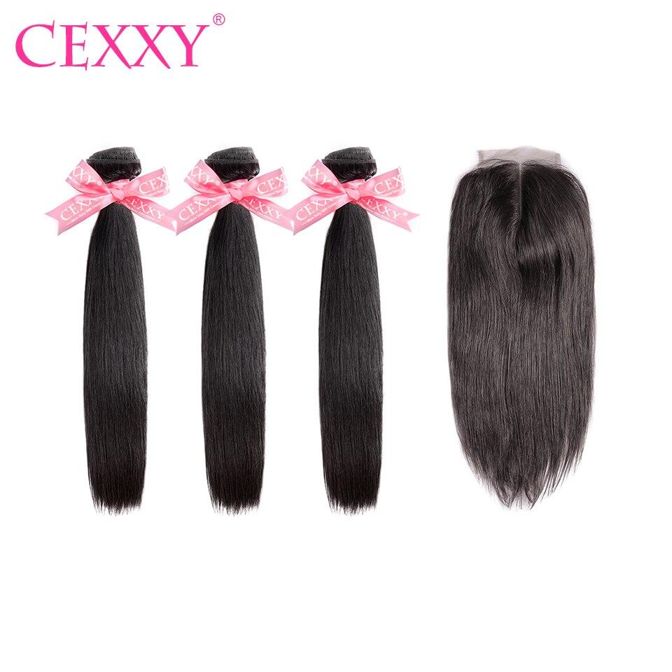 Cexxy Hair Human Hair Bundles With Closure Peruvian Hair Weave 3 Bundles Straight Virgin Hair Free