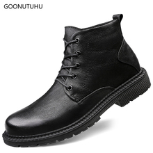 2019 winter men's boots army genuine leather snow shoes man work boot plus size 38-48 black shoe tactical military boots for men цена