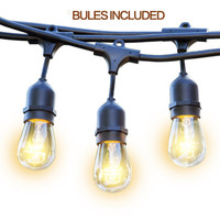 15pcs 2W LED S14 LED Bulbs Included Weatherproof Vintage Edison Outdoor Commercial String Lights For Patio