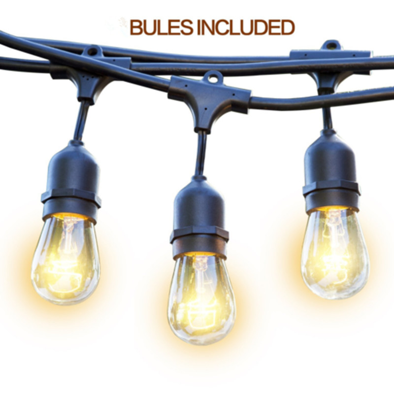 48FT Bulbs Included Weatherproof Outdoor String Lights E26/E27 Commercial Grade Heavy Duty Strand Lighting With US EU AU Plug