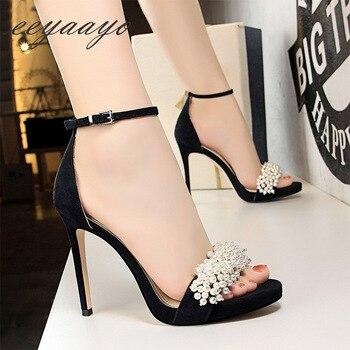 Heel Buckle Solid Pearl High Heel Sandals 5