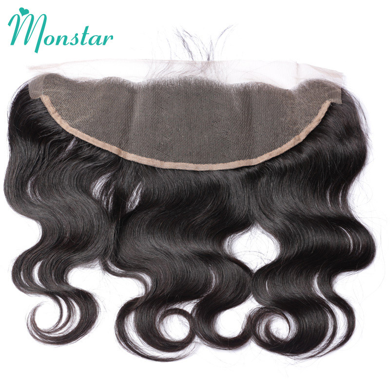 Monstar 13x4 Full Pre Plucked Lace Frontal Closure Bleached Knots With Baby Hair Brazilian Body Wave Frontal Remy Human Hair-in Closures from Hair Extensions & Wigs    1