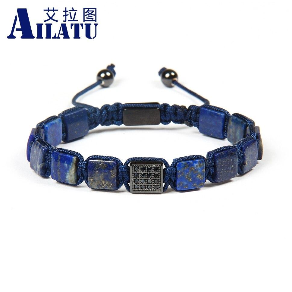 Ailatu Groothandel 10 stks/partij 8x8mm Natuurlijke Lapis Lazuli Stenen Kralen met Zwarte Cz Vierkante Macrame Polsband armband voor cool mannen-in Strandarmbanden van Sieraden & accessoires op  Groep 3