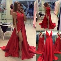 Deep V Neck High Split Silky Women Dress for Evening Party Sexy Bodycon Bandage Long Green Satin Dresses New Elegant Red Dress