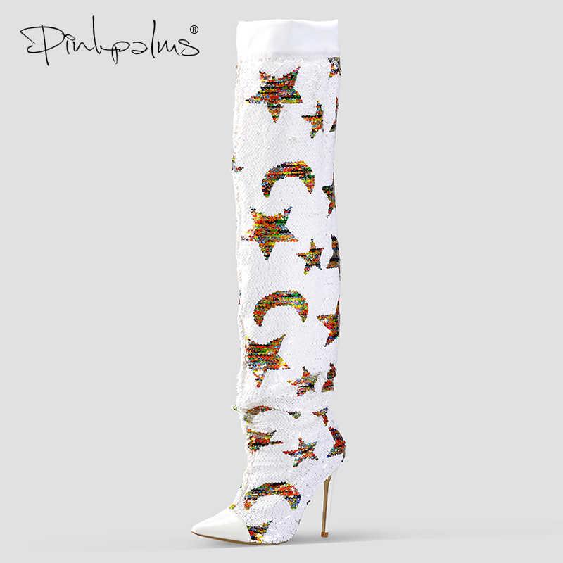 ורוד כפות ידיים נעלי נשים אביב סתיו בד נצנצים מעל הברך מגפי נשים צבע השתנה כוכבים סופר גבוהה עקבים מגפיים