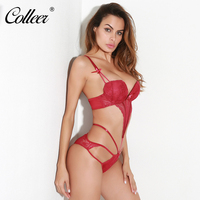 COLLEER Elegant Wine Red Lace Cross Bra Sets Transparent Mesh Sexy Underwear Women Push Up Bra