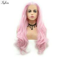 Sylvia Light Colors Natural Wave Synthetic Women Wigs White/Baby Pink Lace Front Wig For Drag Queen Luminous Silk Summer Holiday
