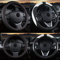 pu leather Universal 37 38cm Car Steering Wheel Cover 5 Colors PU Leather Anti-slip Auto Steering-wheel Covers Sports Car Styling Interior (5)