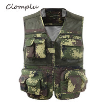 Clomplu Vest Male Military Camouflage Tops Photography Outdoor Vets for Men Summer Plus Size L-4XL Pockets Breathable Clothing