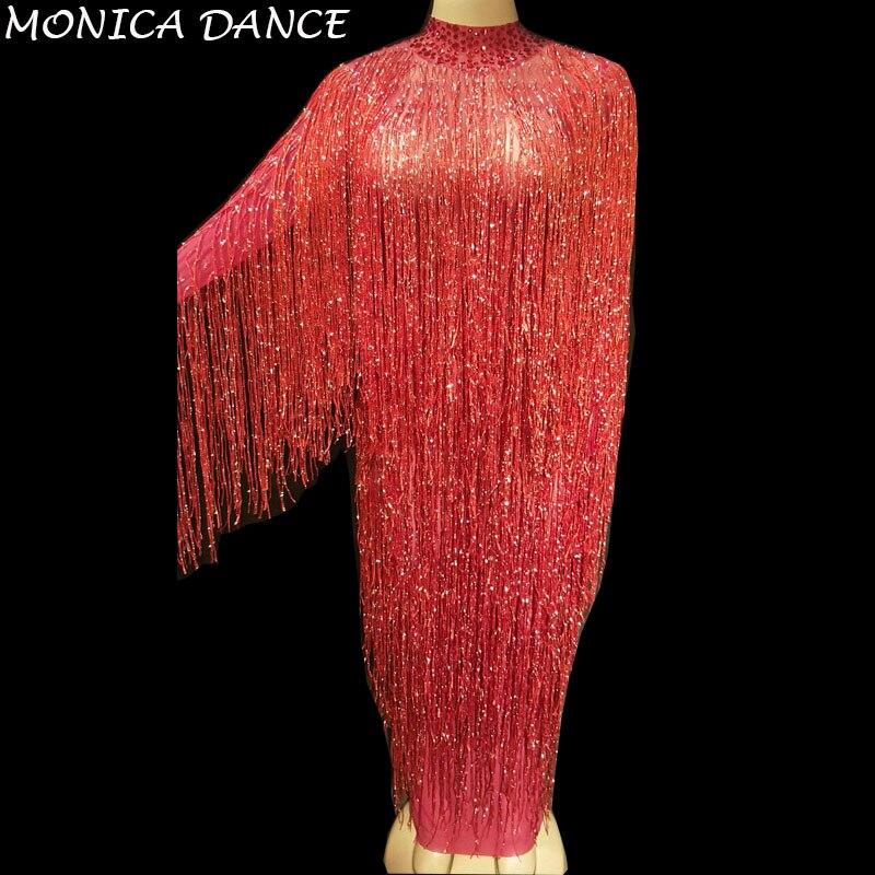 8 couleurs femmes Sexy scène Net fil robe pleine d'étincelle gland discothèque partie scène porter danseuse Bling danse Costumes