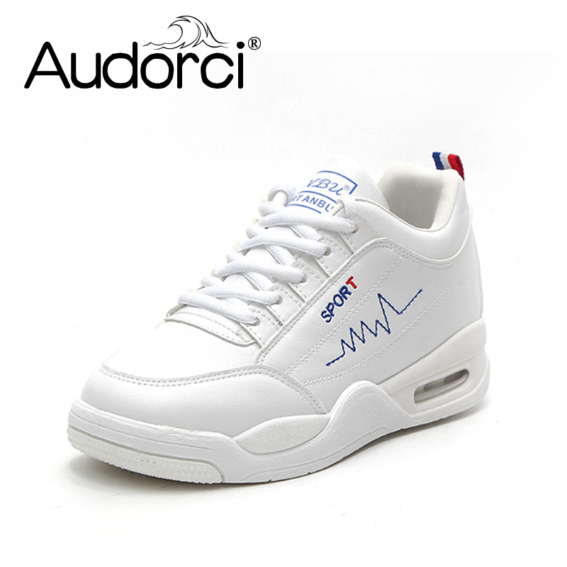 Audorci 2018 Spring Women Casual Shoes Fashion Breathable Walking Lace-Up Flat Shoes Woman Sneakers Size 35-40