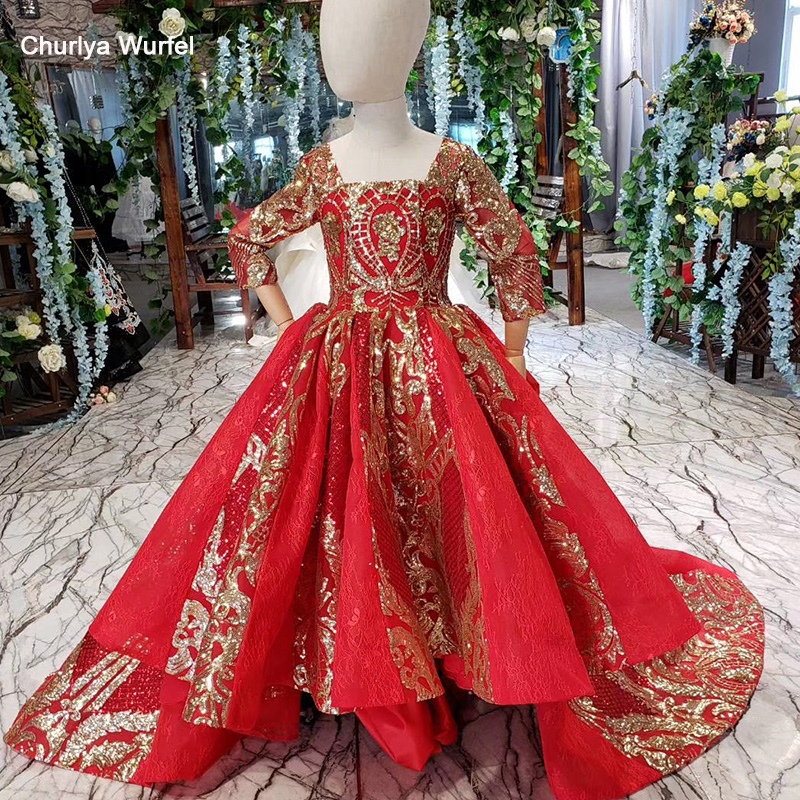 HTL0537 Red First Comunion Dresses Vintage Square Neck Golden Sequined Luxury Festive Flower Girl Dress Vestido Flores Comunion