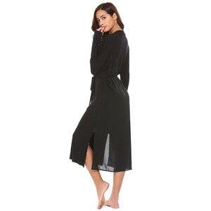 Image 4 - Ekouaer женский халат с длинным рукавом Однотонная задняя двухслойная Пижама банный халат с поясом до середины икры шаль воротник вечернее платье