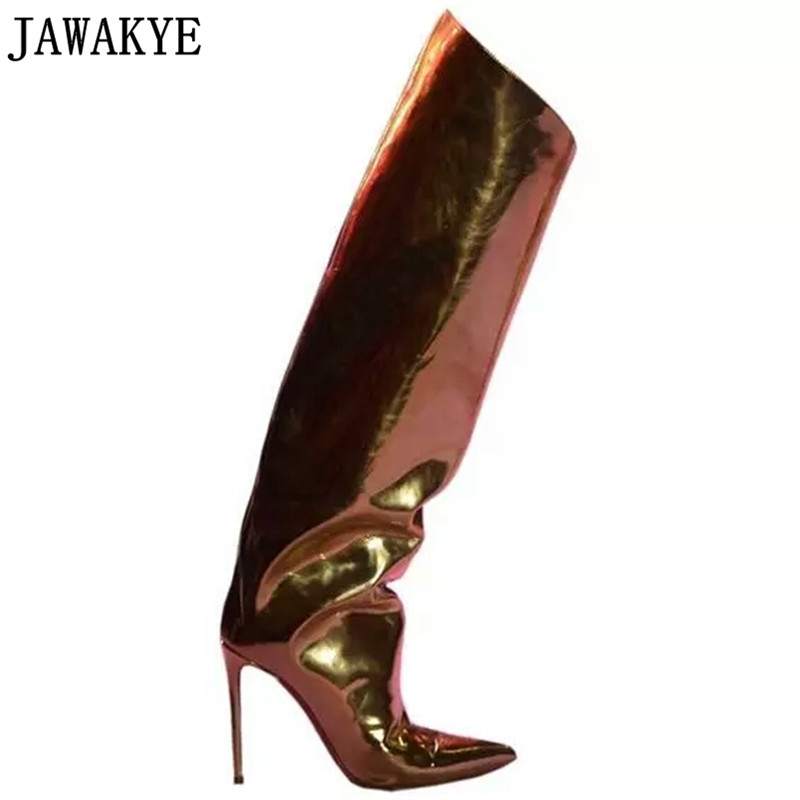 Runway Stilettos candy color Mirror Leather Metallic Over The Knee Women Boots super high heels knee
