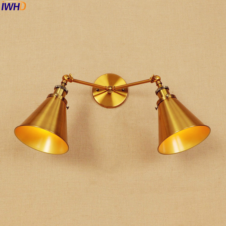 IWHD Gold Antique Vintage Wall Lamp LED Edison Style Lighting 2 Heads Arm Industrial Wall Lights Sconce LED Stair Light Lampen baellerry small mens wallets vintage dull polish short dollar price male cards purse mini leather men wallet carteira masculina