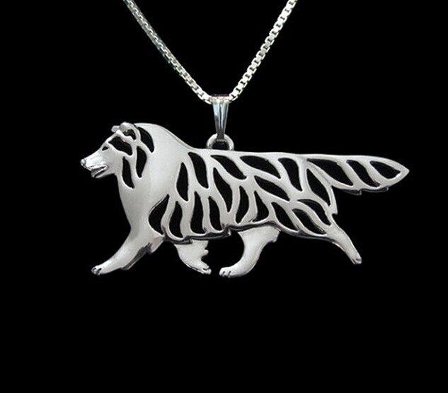 1 pçs dos desenhos animados boho chique liga shetland ovelhas cão colar fronteira collie pingente jóias cores douradas chapeado