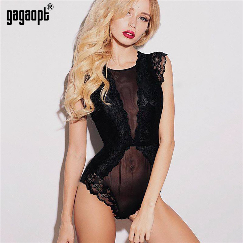 Gagaopt Lace Bodysuit Women Summer Sleeveless Bodycon Mesh Bodysuit Black Perspective Sexy Bodysuit   Jumpsuit   Overalls Sleepwear