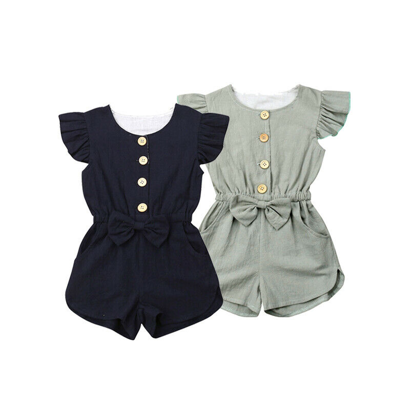 Toddler Kids Baby Girl Flutter Sleeve Short Romper Jumpsuit Botton Down One-pieces Playsuits With Bowknot Summer Clothes Girls