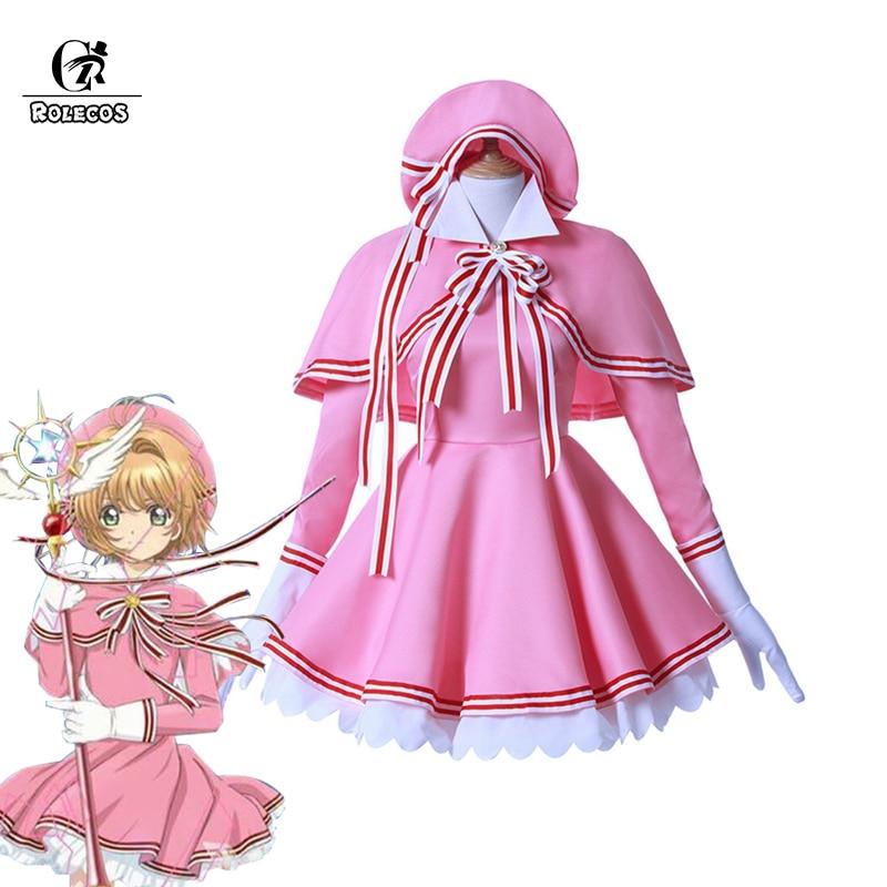 ROLECOS Cardcaptor Sakura прозрачная карта Косплей Костюм Сакура Розовый Косплей сладкое платье Лолита новый аниме костюм на Хэллоуин