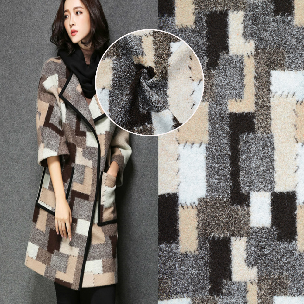 Factory direct knitting jacquard wool wool fabric autumn and winter fashion coat fabric spot wholesale AC-09
