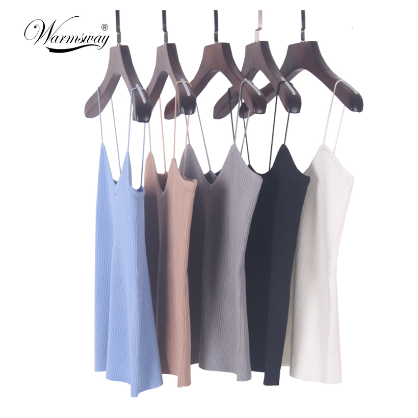 New knitted Tank Tops Women Summer Camisole Vest simple Stretchable Ladies V Neck Slim Sexy Strappy Camis Tops A-002
