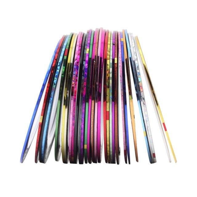 30 Chiếc Hỗn Hợp Nhiều Màu Sắc Làm Đẹp CuộN Lột Đề Can Giấy Bạc Đầu Băng Dòng Tự Làm Móng Thiết Kế Nghệ Thuật Miếng Dán Móng Tay, Dụng Cụ đồ Trang Trí